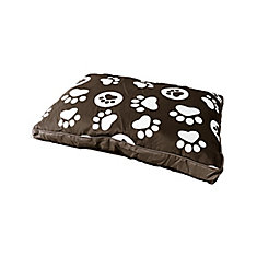 Paw Print Pet Bed 21.5 inch X 31.5 inch Brown