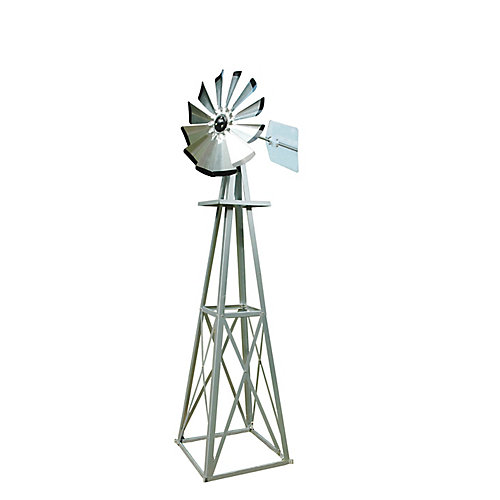 Small Galvanized Ornamental  Windmill with Black Tips