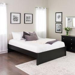 Prepac Base de grand lit plateforme à colonnes Select -  noir
