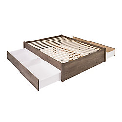 Prepac Queen Select 4-Post Platform Bed with 4 Drawers -  Drifted Gray