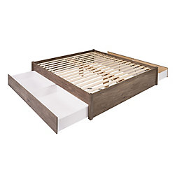 Prepac King Select 4-Post Platform Bed with 4 Drawers -  Drifted Gray