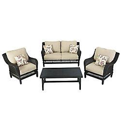 Hampton Bay Woodbury 4-Piece Wicker Outdoor Patio Seating Set with Textured Sand Cushion