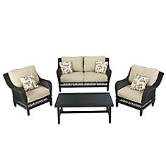 Woodbury 4-Piece Wicker Patio Seating Set with Textured Sand Cushion
