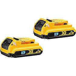 DEWALT Batterie compacte au lithium-ion, 20V Max, 2,0Ah, ToolConnect, 2batteries