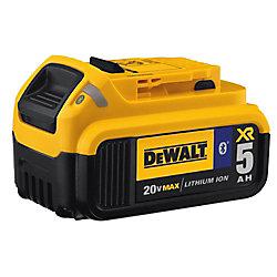 DEWALT 20V MAX XR Lithium-Ion Premium Premium Battery Pack 5.0Ah avec connectivité Bluetooth