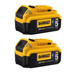 DEWALT 20V MAX XR Lithium-Ion Premium Battery Pack 5.0Ah with Bluetooth Connectivity (2-Pack)