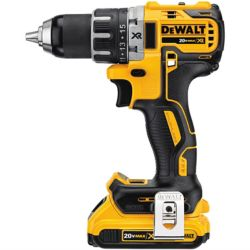 DEWALT 20V MAX XR Compact 1/2-inch Drill/Driver 2.0 Ah with 2 Batteries, Charger and Kit Box