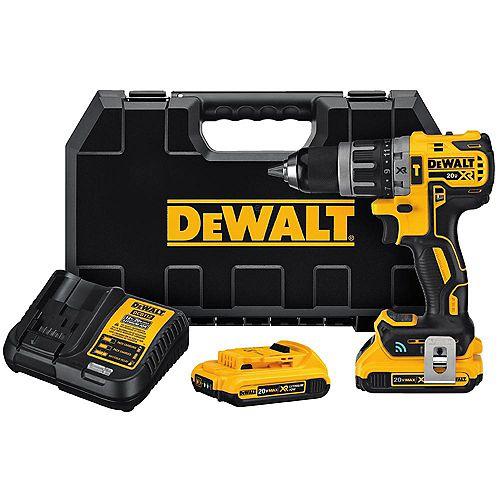 DEWALT 20V MAX XR Compact Tool Connect Marteau perforateur 1/2 pouce 2.0 Ah avec 2 batteries, chargeur et boîte de kit