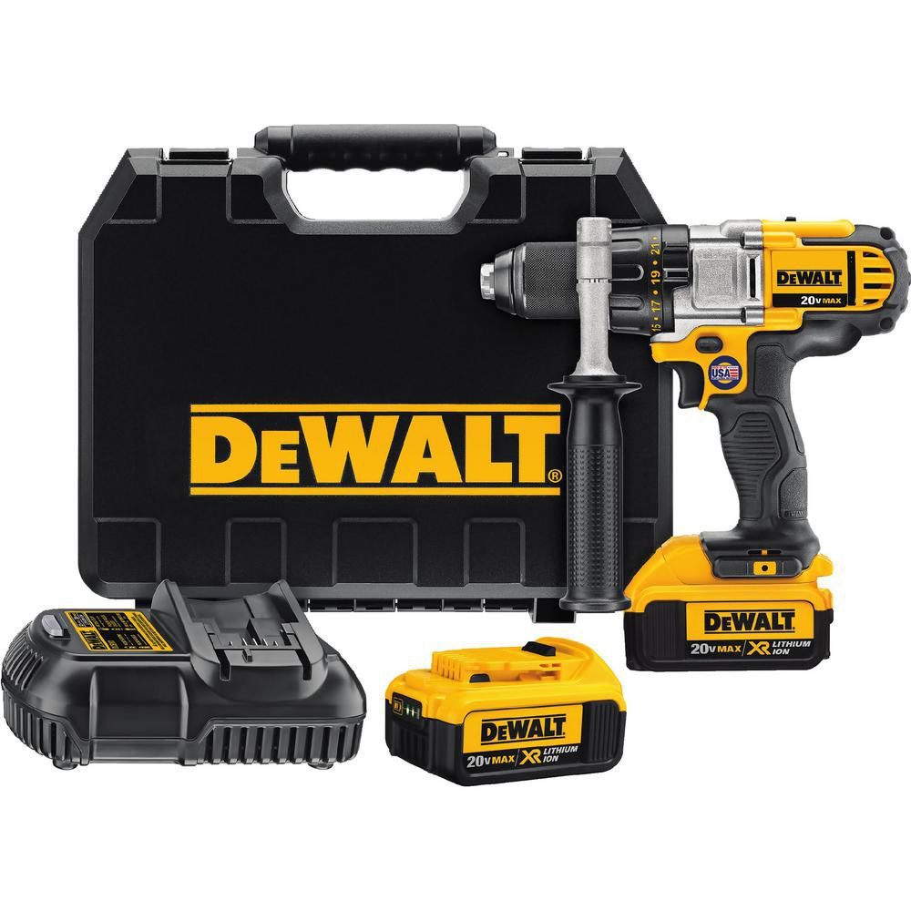DEWALT 20V MAX Lithium-Ion Premium 1/2-inch Drill/Driver 4.0 Ah with 2 Batteries, Charger and Kit Box