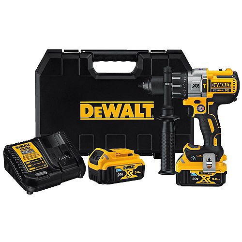 DEWALT 20V MAX XR Premium Tool Connect 1/2-inch Hammerdrill/Driver with 2 Batteries, Charger and Kit Box