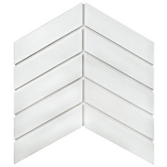 Metro Soho Chevron Matte White 1-3/4-inch x 7-inch Porcelain Floor and Wall Tile (9 sq. ft. / case)