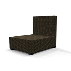 Hampton Bay Commercial Dark Brown Wicker Armless Middle Outdoor Patio Sectional Chair