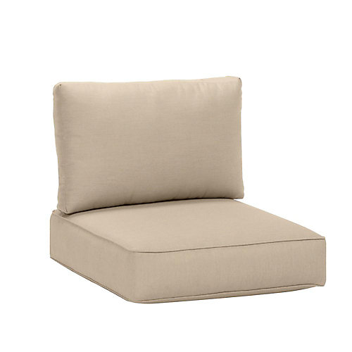 Commercial Sunbrella Canvas Patio Armless Middle Sectional Cushion in Antique Beige