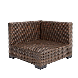Hampton Bay Commercial Dark Brown Wicker Left Arm, Right Arm or Corner Outdoor Patio Sectional Chair