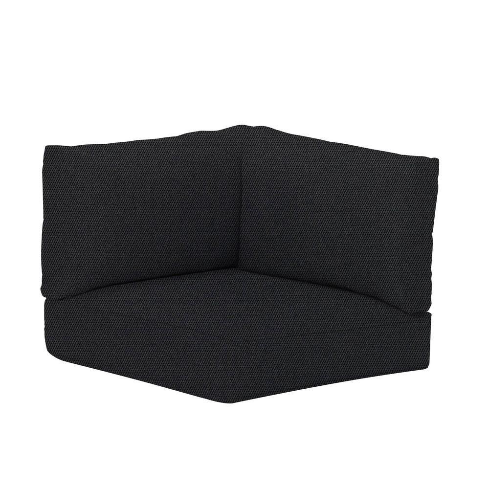 Hampton Bay Commercial Sunbrella Canvas Raven Black Left Arm, Right Arm or Corner Outdoor Patio Sectional Cushion