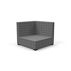 Hampton Bay Commercial Gray Wicker Left Arm, Right Arm or Corner Patio Outdoor Sectional Chair