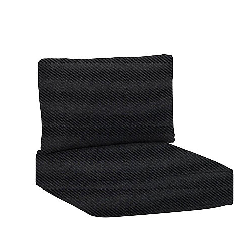 Commercial Sunbrella Canvas Raven Black Armless Middle Outdoor Patio Sectional Chair Cushion