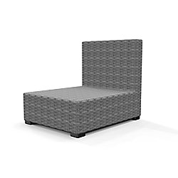 Hampton Bay Commercial Gray Wicker Armless Middle Outdoor Patio Sectional Chair