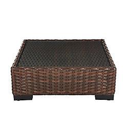 Hampton Bay Commercial Dark Brown Square Wicker Glass Top Outdoor Patio Coffee Table