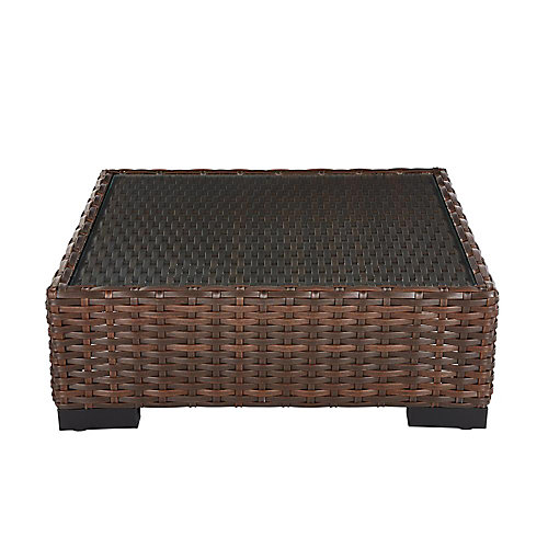 Commercial Dark Brown Wicker Glass Top Square Patio Coffee Table