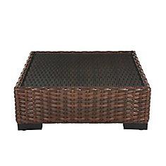 Table basse de jardin carrée, tressée brun foncé, plateau de verre, de  qualité commerciale