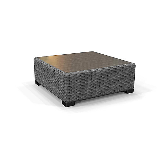 Commercial Grey Wicker Glass Top Square Patio Coffee Table