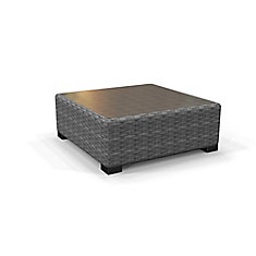 Commercial Gray Square Wicker Glass Top Outdoor Patio Coffee Table