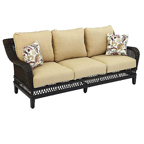 Woodbury Wicker Patio Sofa with Textured Sand Cushion