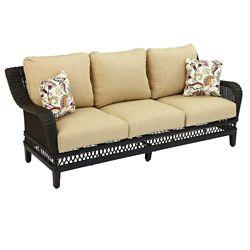 Hampton Bay Woodbury Wicker Patio Sofa with Textured Sand Cushion