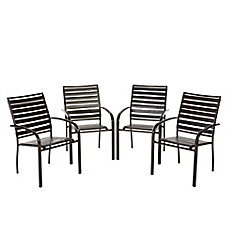 Sterling Brown Commercial Grade Aluminum with PVC Strap Outdoor Patio Dining Chairs (4-Pack)