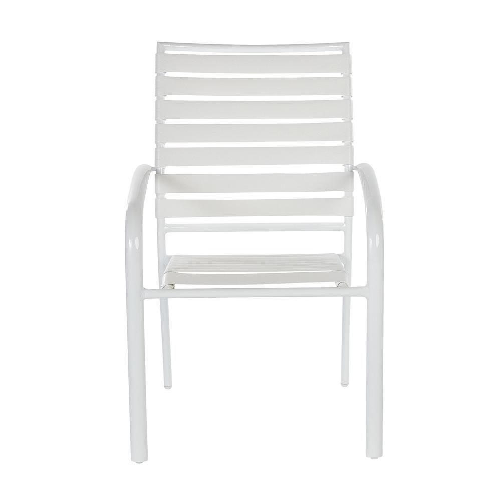 Hampton Bay Sterling White Commercial Grade Aluminum with PVC Strap Outdoor Patio Dining Chairs (4-Pack)