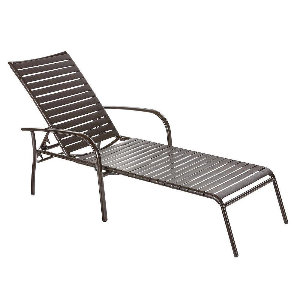 Hampton Bay Sterling Brown Commercial Grade Aluminum with PVC Strap Outdoor Patio Chaise Lounge (4-Pack)