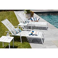 Chaise longue de jardin Sterling, blanche en aluminium, bandes de PVC, qualité commerciale (ens. de 4)