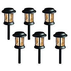 12 Lumen Solar LED Black Landscape Pathway Light Vintage Bulb 6pk