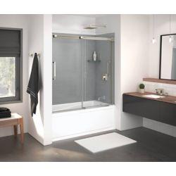 MAAX Inverto 56-59 po x 59 po porte de baignoire coulissante sans cadre en nickel brossé