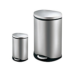HDX 50L and 6L Stainless Steel Step Trash Can Set