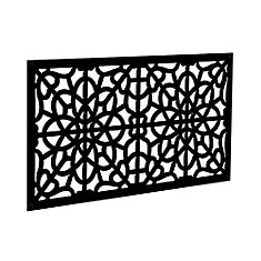 Fretwork 2 ft. x 4 ft. Decorative Screen Panel in Black