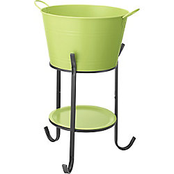 Hampton Bay Party Tub Steel Drinks Bucket with Stand in Pear