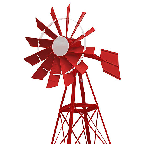 20 ft. Red and White Powder Coated Aeration Windmill