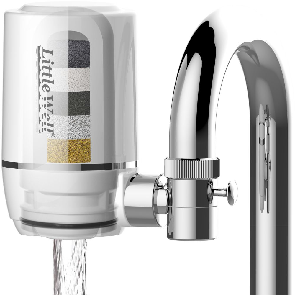 iSpring LittleWell Faucet Mount Water Filter with Multi-Layer Filtration