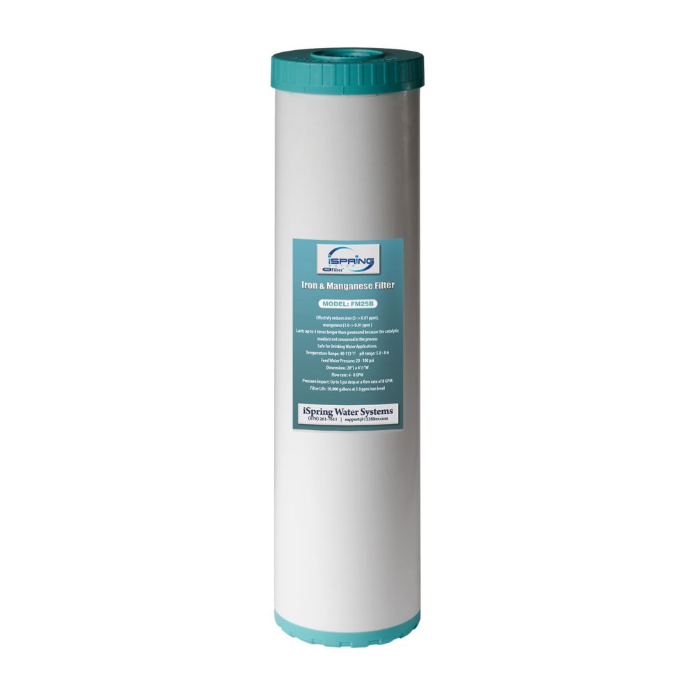 iSpring 123 Filter Iron Manganese Reducing Replacement Water Filter, High Capacity 4.5inch x 20inch Big Blue