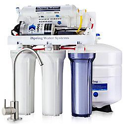 iSpring Système de filtration d'eau potable à 5 étages 100 GPD à osmose inverse avec pompe de surpression