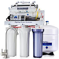 iSpring Système de filtration de l'eau potable par osmose inverse à 6 étages avec pompe et stérilisateur UV