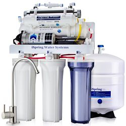 iSpring 6-Stage Under Sink Reverse Osmosis Drinking Water Filtration System with Pump and UV Sterilizer