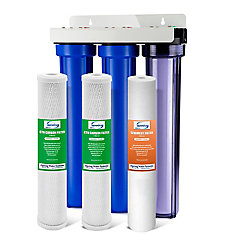 3-Stage 20 inch Whole House Water Filter with 3/4 inch NPT Carbon and Clear Housing on First Stage