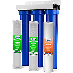 3-Stage 20 inch Whole House Water Filter with 3/4 inch NPT Carbon