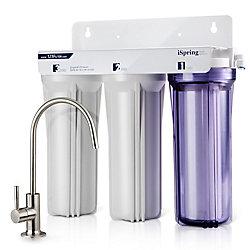 iSpring Système de filtration de l'eau potable sans réservoir à haute capacité à 3 étages sous évier