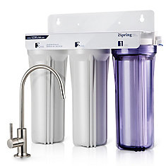 3-Stage Under Sink High Capacity Tankless Drinking Water Filtration System