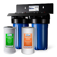 WGB21B 2-Stage Whole House Water Filtration System w/ 4.5 inchX10 inch Sediment and Carbon Block Filters