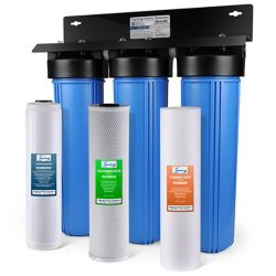 iSpring 3-Stage Big Blue Whole House Water Filter with Sediment, Carbon Block, Lead Removal Cartridge